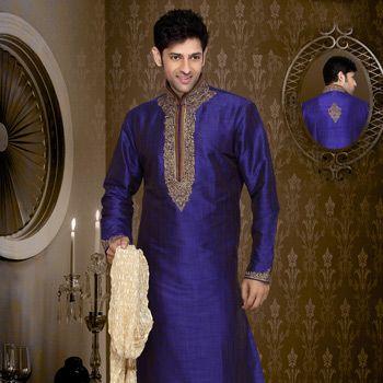 115.53  Blue Art Silk Readymade Kurta with Churidar