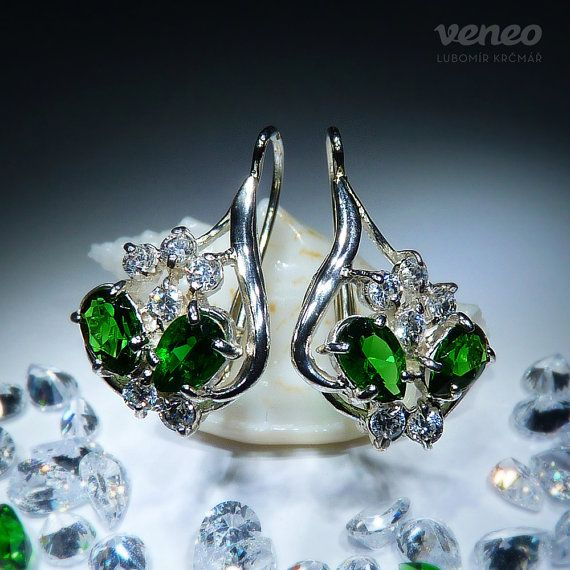 Carmen. Silver or Gold Swarogreen and Zircon Earrings all by Veneo, $74.00