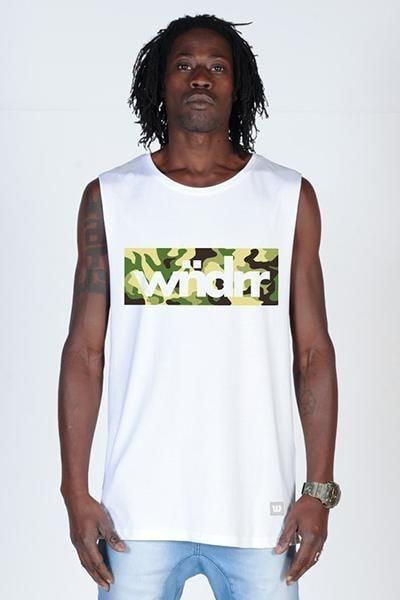 WNDRR - Accent Camo Logo Muscle - White