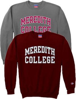 CHAMPION PRODUCTS : Meredith College Crewneck Sweatshirt : Meredith Supply Store : www.meredith.bkstr.com  In maroon