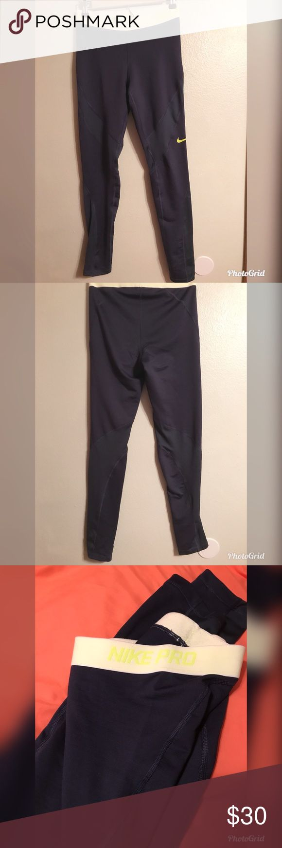 Nike pro pants Navy blue and neon  Soft on the inside like fleece Full pants to the ankle Nike Pants Leggings