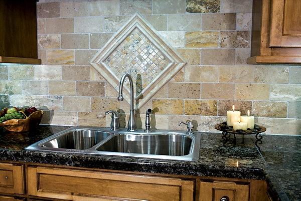 tile backsplash dark counter cherry cabinets