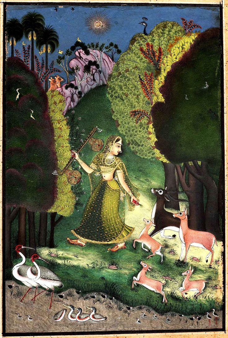 Todi Ragini. Kotah-Bundi style. About 1760. Rajasthan, Northern India.