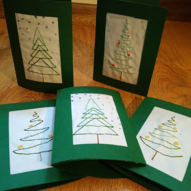 Embroidery hand made X-mas cards