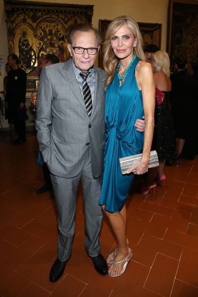 TV personality Larry King and his wife Shawn attend the 2015 Celebrity Fight Night Italy opening night reception and dinner sponsored by Panerai on September 10, 2015 in Florence, Italy.