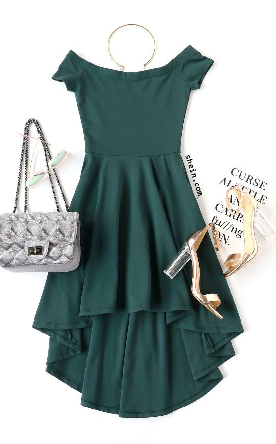 Dark Green Off The Shoulder High Low Skater Dress