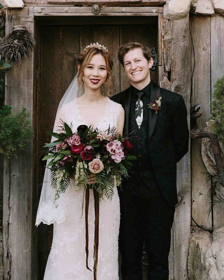 """A Moody, Magical """"Harry Potter""""-Themed Wedding   Martha Stewart Weddings - The bride wore a James Clifford dress and gold Melissa flats (in case of rain, as it was the middle of El Niño). Matt went for a """"classy, wizardly look,"""" wearing a Zara suit with a subtle raised pattern."""