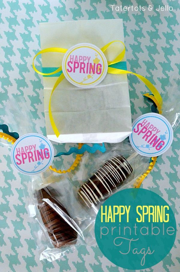 Happy Spring Free Printable Tags at tatertotsandjello.com #DIY #Spring