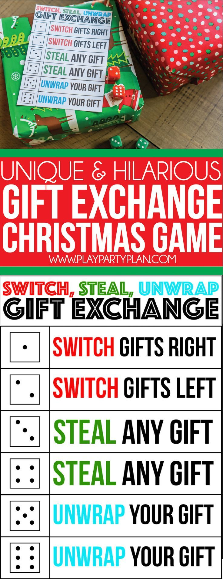 A perfect gift exchange game for kids, for adults, and even for teens! Simply roll the dice and see where the gifts end up. Definitely one of our favorite Christmas party games ever and it'll quickly become a family or office favorite for you too!  via @playpartyplan