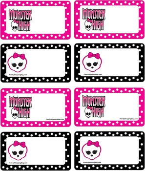 MH Tags, Monster High, Party Decorations - Free Printable Ideas from Family Shoppingbag.com