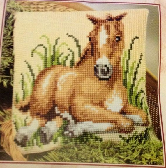 Vervaco Foal Cross Stitch Cushion, Multi-Colour  Foal, Chunky Cross Stitch Cushion Front Kit Very Rare
