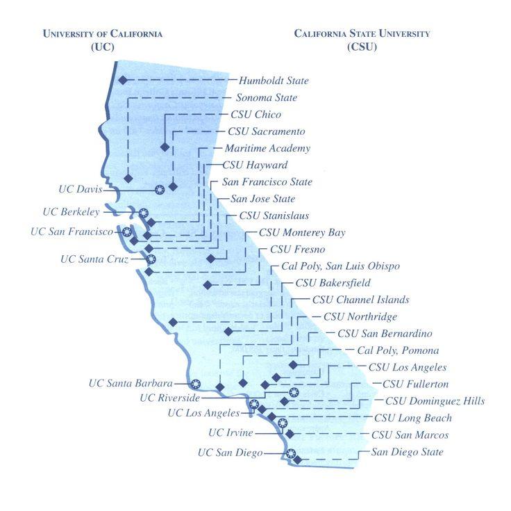 california universities map california map