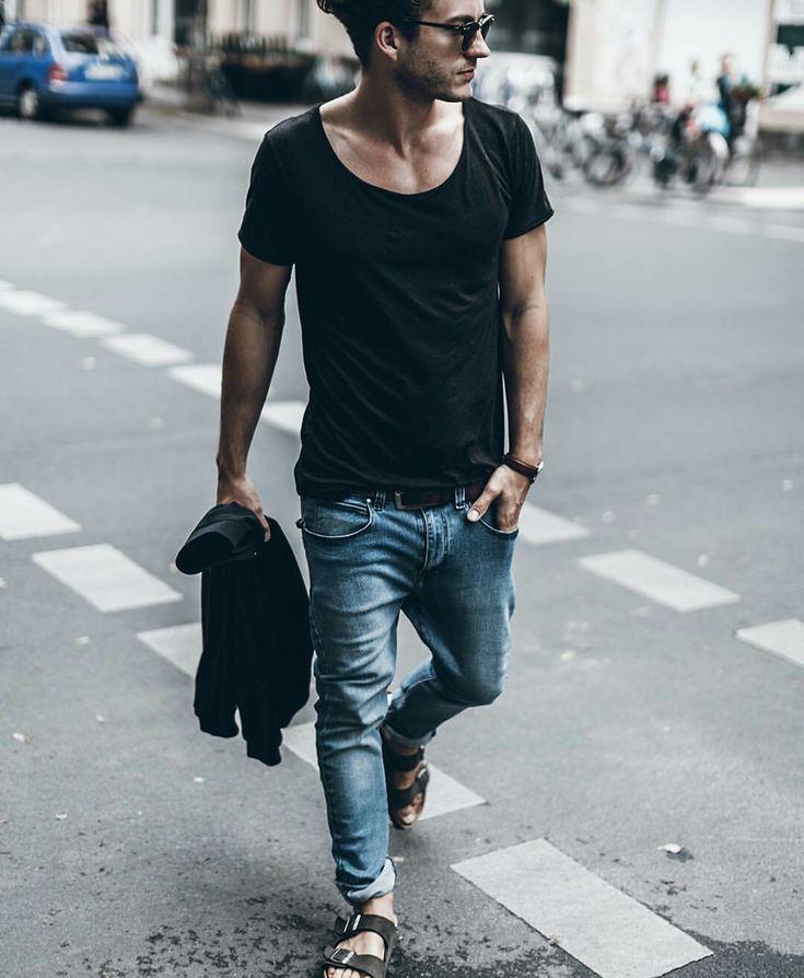 Men style. Black t-shirt. jeans. Birkenstock sandals. Klemenswhite