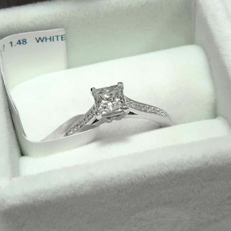 1.45 CT PRINCESS CUT ENGAGEMENT RING 14K SOLID White GOLD SOLITAIRE Anniversary