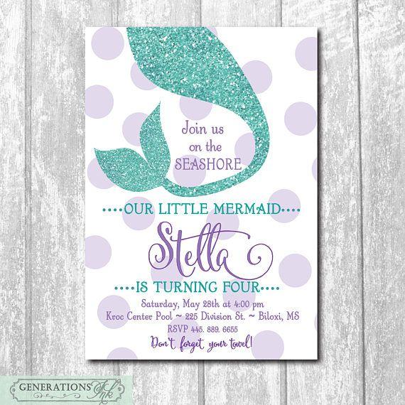 Mermaid Birthday Invitation Under the Sea printable/glitter, swim party, pool, girl birthday, purple, teal/Digital/wording can be changed