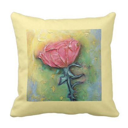 """Pink Rose"" Polyester Throw Pillow - rose style gifts diy customize special roses flowers"