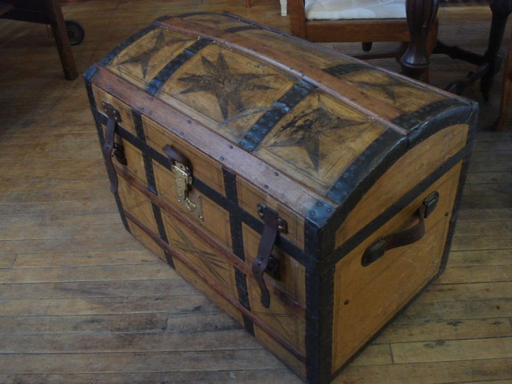 C1850 S Wooden Trunk With Original Painted Geometric