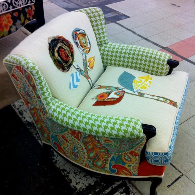 Best upholestery job for a little girl's bedroom chair ever :)