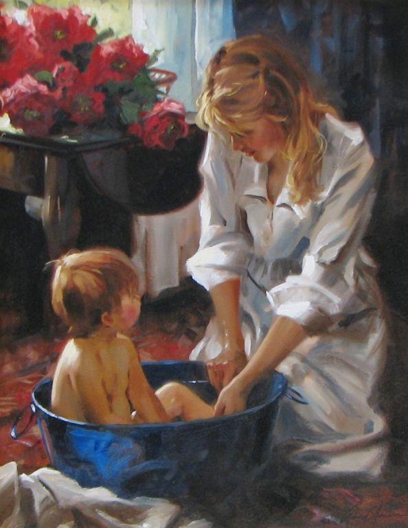 Richard Johnson Artist Original Morning Bath 22 x 28.jpg (594×768)