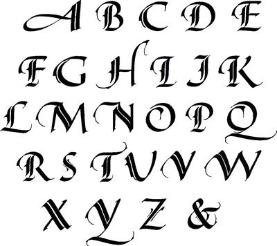Gothic Calligraphy This alphabet is very ornate and was used in the 12th to the 15th century and is also known as black letter calligraphy.