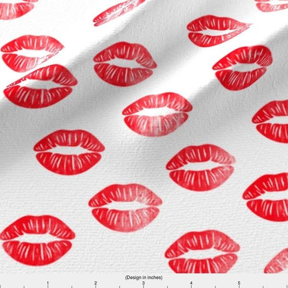 Kiss Fabric Smooches Kisses Red By Littlearrowdesign Red Lips