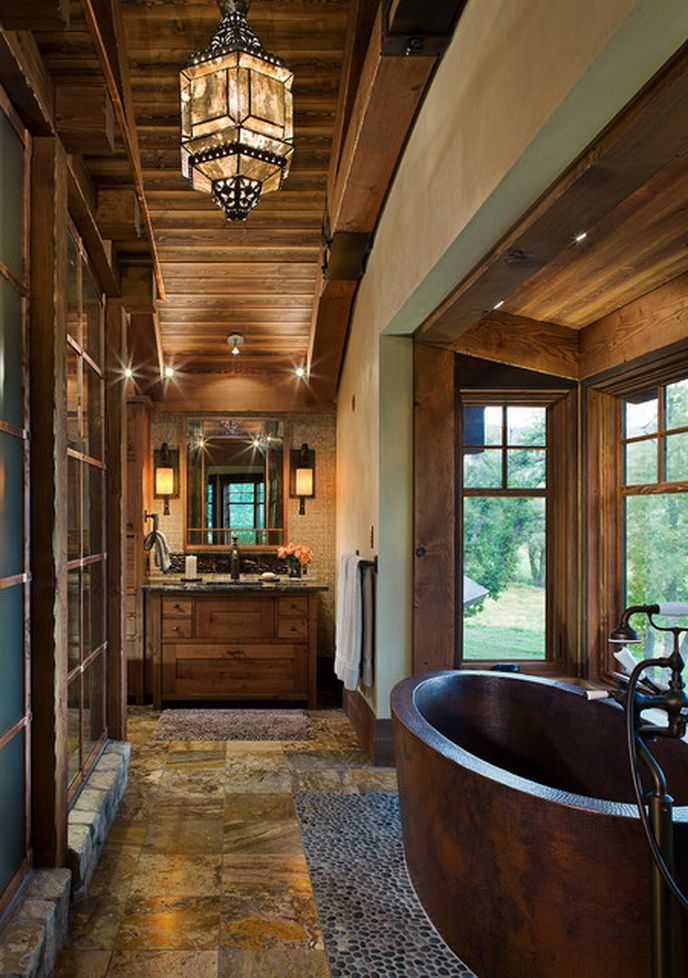 bay window ideas and natural stone tiles also wooden ceiling on rustic bathroom decoration discount bathroom