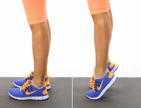 Calf Raises: 1.Feet hip-width & parallel. 2.Slowly raise up on tiptoes (over 3 slow counts) & then slowly lower back down (over 3 slow counts).   Do 20 reps.