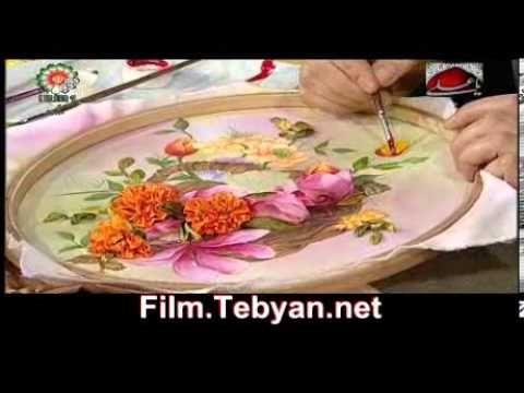نقاشی روی روبان دوزی - YouTube