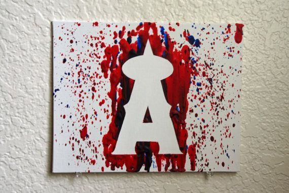 Los Angeles Angels Melted Crayon Art by MikeAndKatieMakeArt