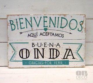 Letreros vintage | BIENVENIDOS - ACEPTAMOS BUENA ONDA - comprar online