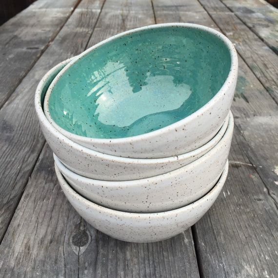 $100 gift handmade ceramic bowl set of 4 serving soup salad bowl in speckled white and turquoise glaze