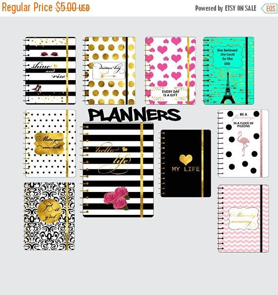 50% SALE Planners clipart planner clip art gold foil happy