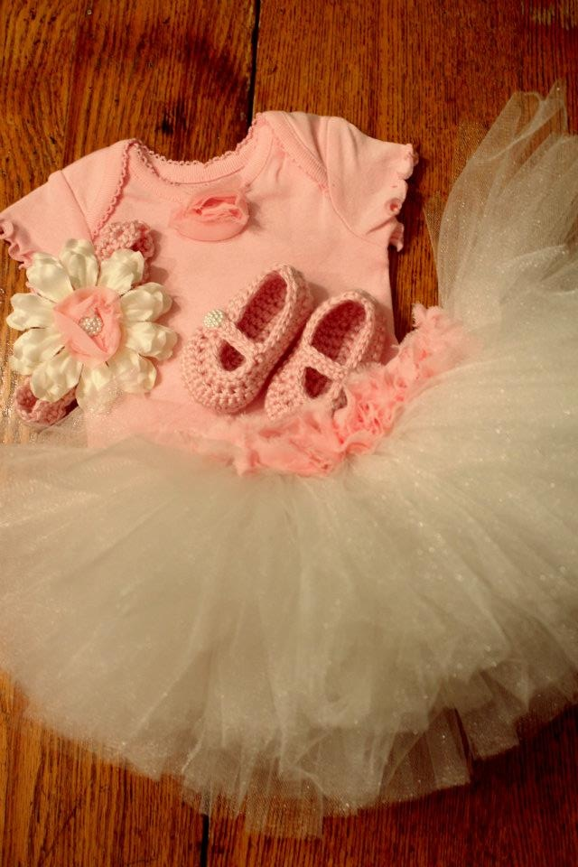 0-3 mo. pink and cream rosette tutu with onesie, crochet mary janes, and headband