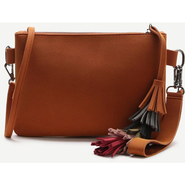 Brown Tassel Detail Clutch Bag With Strap (29 BAM) ❤ liked on Polyvore featuring bags, handbags, clutches, she in bags, brown handbags, tassel handbags, brown clutches, brown purse and tassel purse