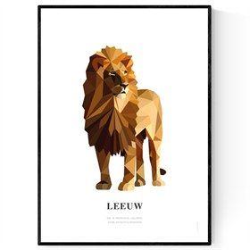 LeeuwenPoster geometrische dieren Leeuw illustratie