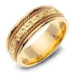 Amazing K Yellow Gold Hand Carved Greek Key Style Braided Wedding Band Ring