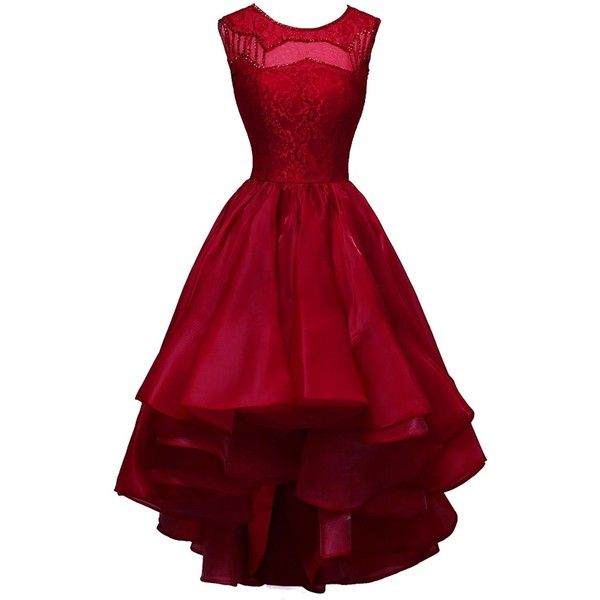 ORIENT BRIDE Lovely Scoop Beaded Asymmetrical Cocktail Party Evening... (180 CAD) ❤ liked on Polyvore featuring dresses, red evening dresses, bridal cocktail dresses, red party dresses, holiday cocktail dresses and evening dresses
