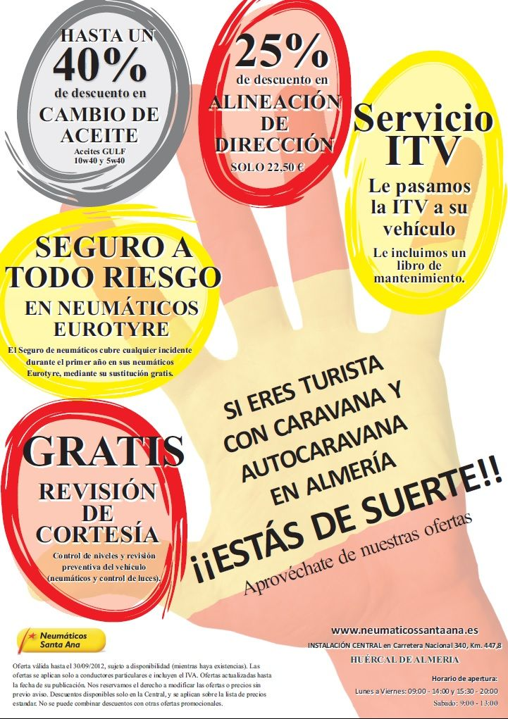 Cartel promocional de ofertas en Neumáticos Santa Ana.