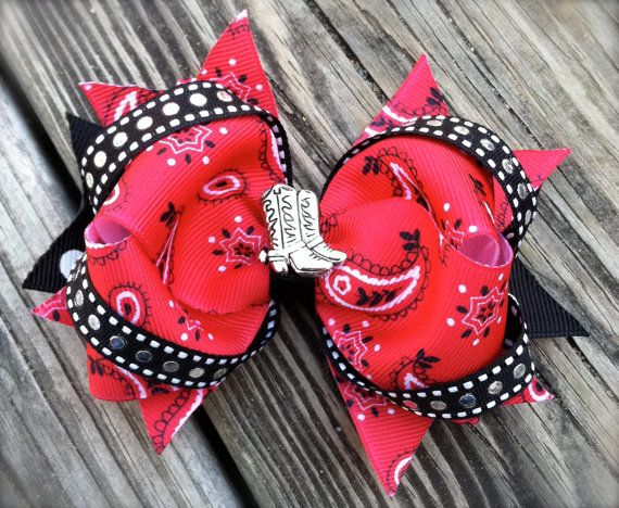 COWGIRL HAIR BOW w/ Boots Center by PolkaDotzBowtique on Etsy, $7.99