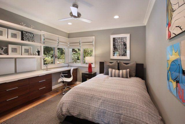 chambre enfant garçon avec une peinture grise et grand lit