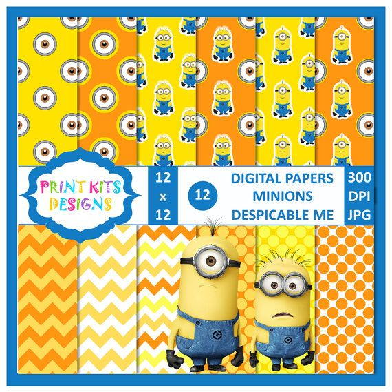 Instant Download, Minions Despicable Me 2 Digital Paper use of creative projects and crafts, such as scrapbooking, invitations, labels.