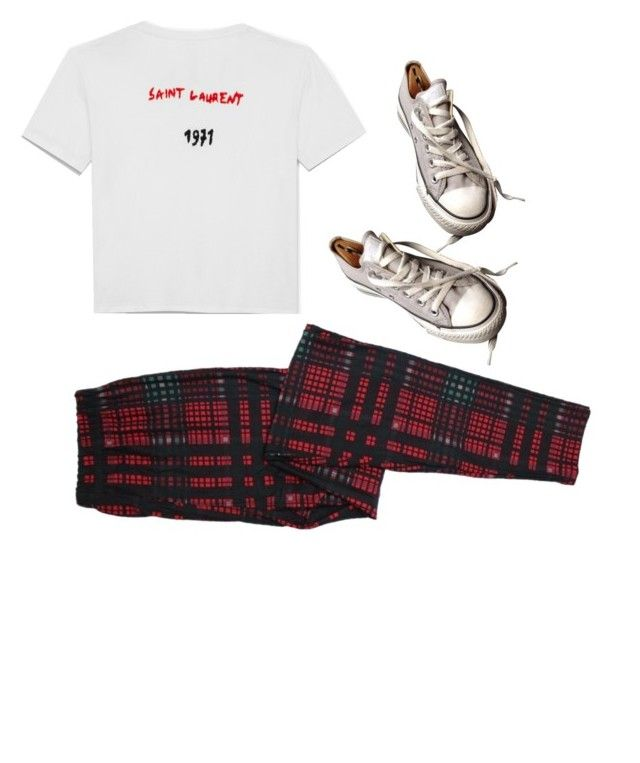 """""""☠"""" by theo-janickova on Polyvore featuring Yves Saint Laurent and Converse"""