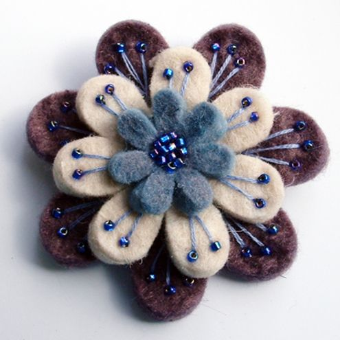 "Folksy :: Buy ""Layered felt brooch"" 