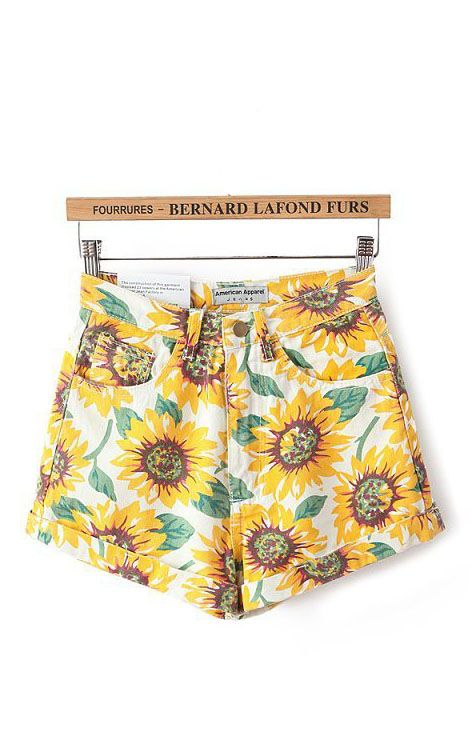 90s inspired sunflower shorts