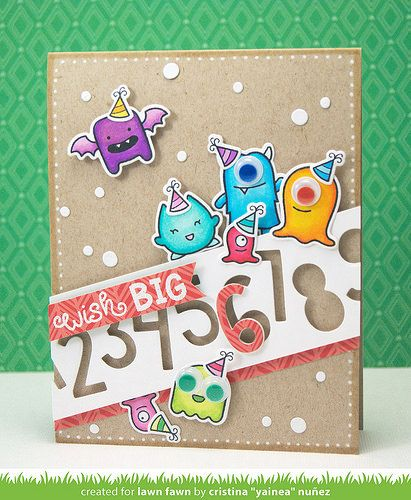 Lawn Fawn - Monster Mash + coordinating dies, Birthday Tags, Finley's 123s, Snow Day 6x6 paper _ festive and fun birthday card by Yainea for Lawn Fawn Design Team