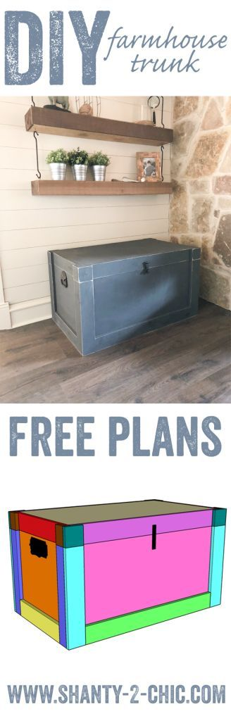 Build a DIY Modern Farmhouse Trunk for under $100! Free plans and how-to video at www.shanty-2-chic.com Perfect storage piece!