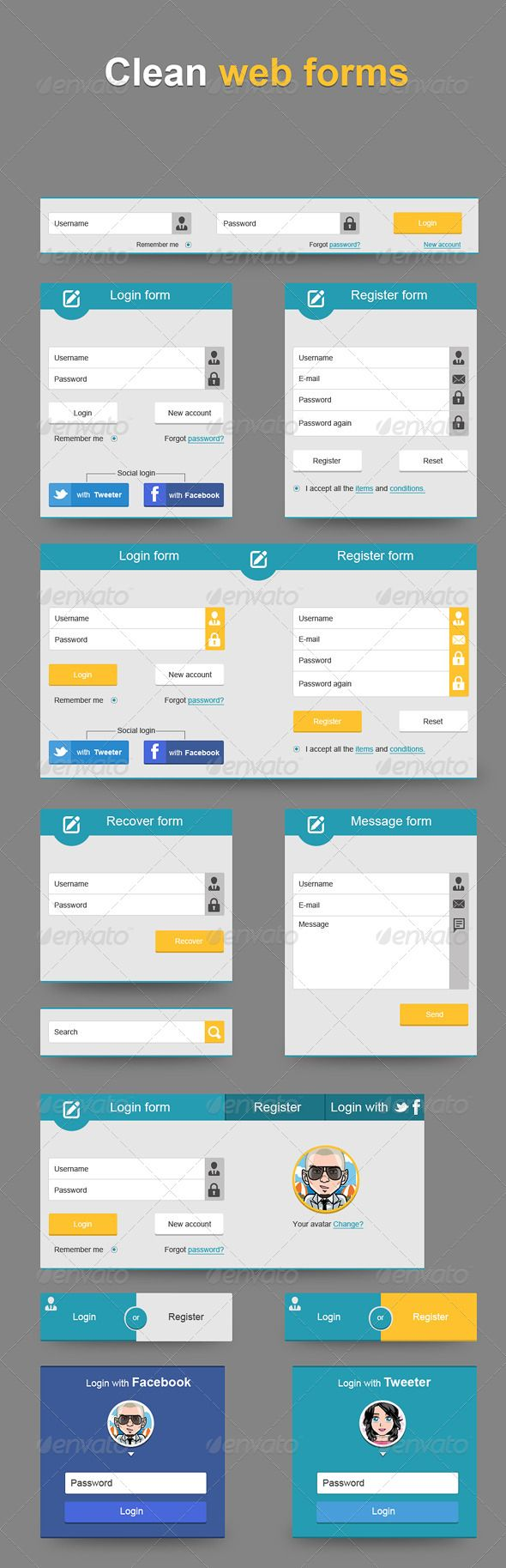 Clean Web Forms  #GraphicRiver         Fully editable PSD file Organized Layer Easy to change color and forms Help File included in main file