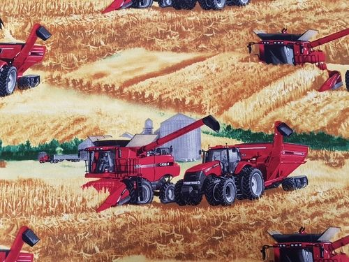 Case Tractor Allover Harvesting   Little boys love Case Tractors, they are big red and exciting.  Harvest time is so much fun watching the big red tractor harvesting everything that has grown.  This fabric is made from quality 100% cotton  112cm wide  1 Unit = 1 Fat Quarter 50cm x 56cm  4 Units = 1 meter