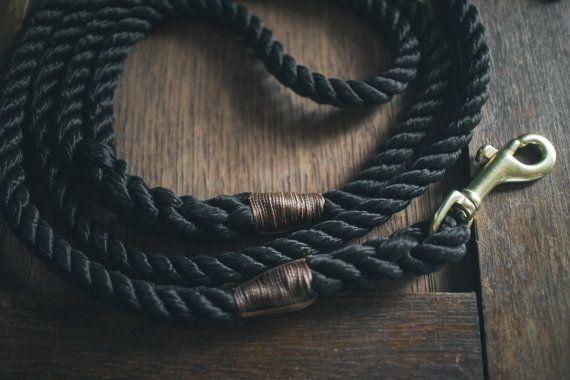 Midnight black rope dog lead / leash  Made in by AnimalsInCharge
