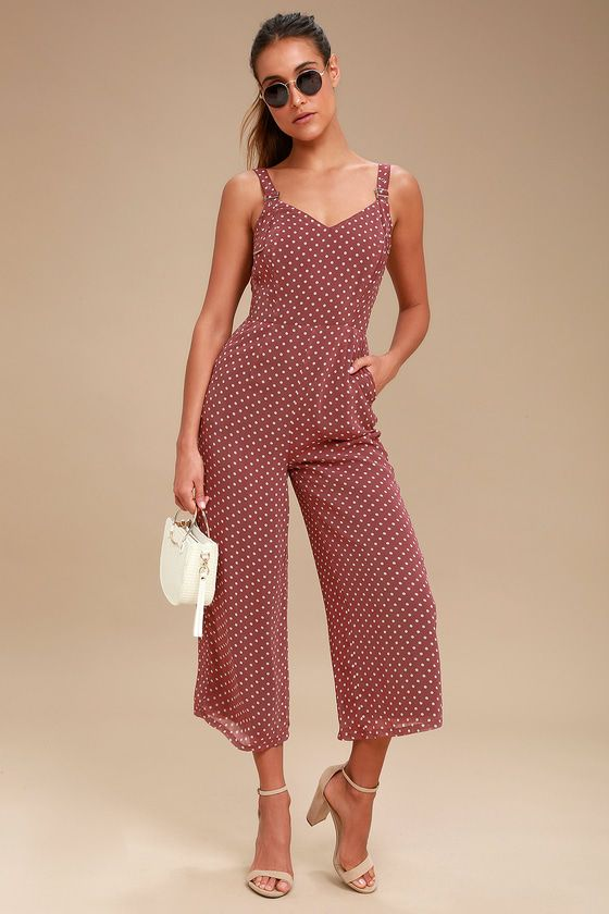 23be4a38d1cc Always keep it cool in the J.O.A. Lorita Washed Burgundy Polka Dot Culotte  Jumpsuit! Cream polka dots lend a casual-yet-chic look to this breezy  jumpsuit